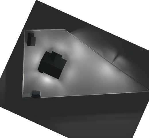 Об'ємне зображення освітлюється об'єкта прибудинкової території світлодіодними світильниками