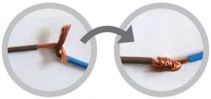 Соединение токопроводящих проводов с помощью скрутки З'єднання струмопровідних проводів за допомогою скручування