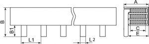 Шина соединительная штырьевая для однополюсных автоматических выключателей до 63А предназначена для группового соединения модульного оборудования купить Киев цена доставка