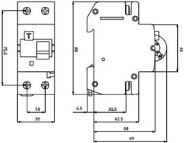 дифавтомат дифференциальный автоматический двухполюсный выключатель KZS 2М С 6А / 0.03 АС 10kA купить Киев цена диференціальний автоматичний вимикач купити Київ ціна ETI