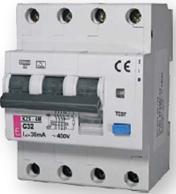 Дифференциальные автоматические выключатели дифавтомат купить Киев диференційний автоматичний вимикач купити Київ цена ETI KZS - 4M, 3+N 4 полюсный