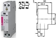 Контактор R 20-02 230V AC 20A AC1 модульный купить Киев цена 2НЗ 2 размыкающих контакта