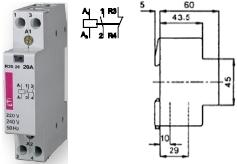 Контактор R 20-11 230V AC 20A AC1 модульный купить Киев цена 1НО + 1НЗ