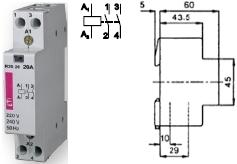 Контактор R 20-20 230V AC 20A AC1 модульный два замыкающих контакта 2НО купить Киев цена