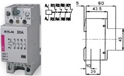 Контактор R 25-04 230V AC 25A AC1 модульный четыре замкнутых контакта на размыкание купить Киев цена 4НЗ 220в