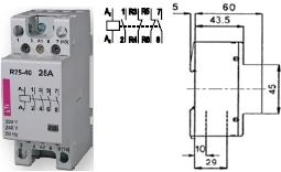 Контактор R 25-22 230V AC 25A AC1 модульный четыре контакта 2 замкнутых 2 разомкнутых купить Киев цена 2НЗ + 2НО