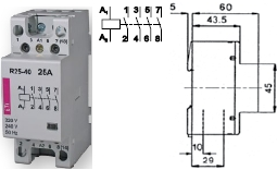 Контактор R 25-40 230V AC 25A AC1 модульный четыре контакта разомкнутых купить Киев цена 4НО 220в