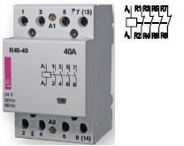 Контактор R 40-04 230V AC 40A AC1 модульный четыре контакта замкнутых купить Киев цена 4НЗ 220В