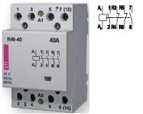 Контактор R 40-22 230V AC 40A AC1 модульный четыре контакта 2 замкнутых 2 разомкнутых купить Киев цена 2НО + 2НЗ 220в