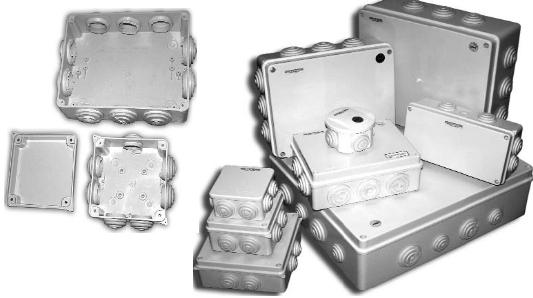 Распределительные коробки влагозащищенные    Предназначены для удобства монтажа электрической сети. Имеют встроенные резиновые сальники – гермовводы. Внутри коробок имеются крепежные элементы для установки клемных колодок. Устанавливаются посредством винтов ( саморезов ). Максимальный диаметр трубы на ввод 30 мм.