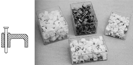 Область применения пластиковой кабельной плоской скобы с гвоздем:    Предназначены для удобства крепежа проводов и кабелей различных сечений