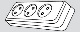 Колодка электрическая 3 розетки (3 места подключения, без заземления) купить Киев цена