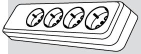 Колодка электрическая 4 розетки (4 места подключения, с заземлением) купить Киев цена