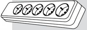 Колодка электрическая 5 розеток (5 мест подключения, с заземлением) купить Киев цена