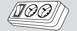 Колодка электрическая 2 розетки (2 места подключения, с заземлением и выключателем) купить Киев цена