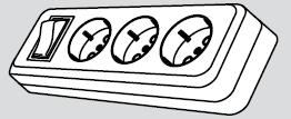 Колодка электрическая 3 розетки (3 места подключения, с заземлением и выключателем) купить Киев цена