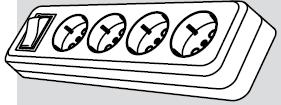 Колодка электрическая 4 розетки (4 места подключения, с заземлением и выключателем) купить Киев цена