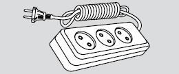 Удлиннитель электрический длина 2м, 3 розетки (3 места подключения, без заземления) купить Киев цена