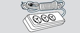 Удлинитель электрический длина 2м, 3 розетки (3 места подключения, с заземлением)