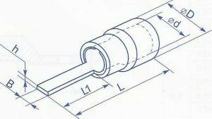 Наконечник плоская игла для провода сечением 0.5 - 1.5 квадрат длиной 10мм предназначен для оконцевания многожильных проводов методом опрессовки, с последующей фиксацией в винтовых зажимах исполнительных устройств