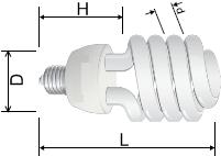 Купить компактную люминесцентную лампу - полуспираль в Киеве по выгодной цене с бесплатной доставкой
