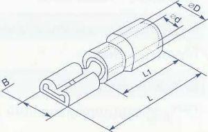 """Коннектор плоский с частичной изоляцией, тип мама, ширина лопатки 2.8мм, для провода сечением от 0.5 до 1.5 квадрат мм нужен для формирования изолированных разъемных соединений цепи по принципу """"папа - мама"""" купить в Киеве выгодная цена с доставкой"""