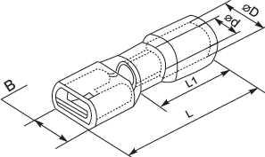 """Коннектор плоский в изоляции, тип мама, ширина лопатки 2.8мм, на провод сечением от 0.5 до 1.5 квадрат мм применяют для формирования изолированных разъемных соединений цепи по принципу """"мама - папа"""" купить в Киеве по выгодной цене с бесплатной доставкой"""