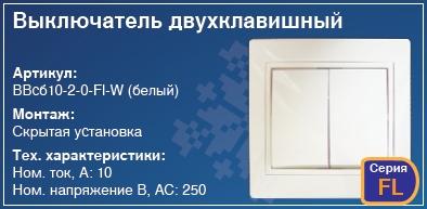 Выключатель двухклавишный в стену скрытая установка купить Киев вимикач купити Київ
