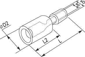 """Коннектор (Разъем - штекер простой) цилиндрический тип мама Д = 4мм в изоляции, на провод сечением от 0.5 до 1.5 квадрат мм служит для формирования изолированных разъемных соединений цепи по принципу """"папа - мама"""" купить цена в Киеве с доставкой"""