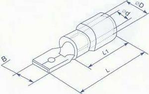 """Коннектор плоский с частичной изоляцией, тип папа, ширина лопатки 2.8мм, для провода сечением от 0.5 до 1.5 квадрат мм нужен для формирования изолированных разъемных соединений цепи по принципу """"папа - мама"""" купить в Киеве выгодная цена с доставкой"""