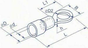 Наконечник под винт М3 в изоляции для провода сечением от 0.5 до 1.5 квадрат мм ток до 15А применяется для оконцевания медных проводников методом опрессовки где необходимо винтовое крепежное соединение купить в Киеве по выгодной цене с доставкой