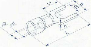 Наконечник вилочный в изоляции для провода сечением от 0.5 до 1.5 квадрат мм, под винт М3, ток до 15А используется для оконцевания проводов методом опрессовки купить в Киеве по выгодной цене с доставкой
