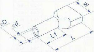 Наконечник трубчатый для двух проводов сечением по 0.5 квадрат (2 х 0.5) предназначен для оконцевания двух многожильных проводников и кабелей методом опрессовки купить в Киеве по выгодной цене с доставкой